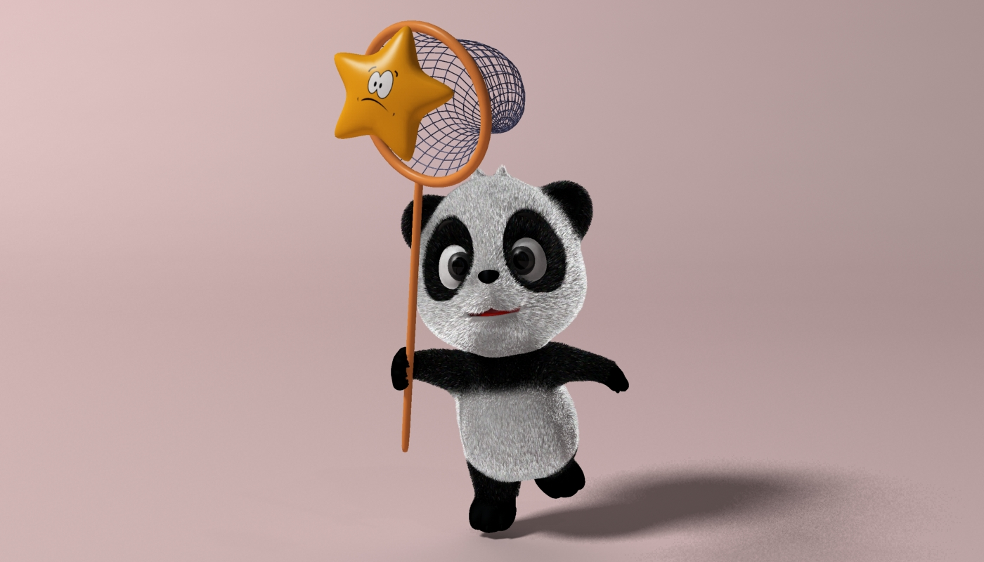 Cartoon panda RIGGED 3d model 3ds max fbx  obj 273394