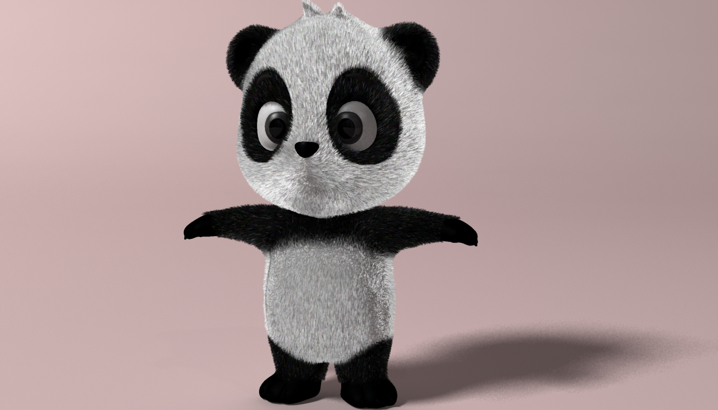 Cartoon panda RIGGED 3d model 3ds max fbx  obj 273395