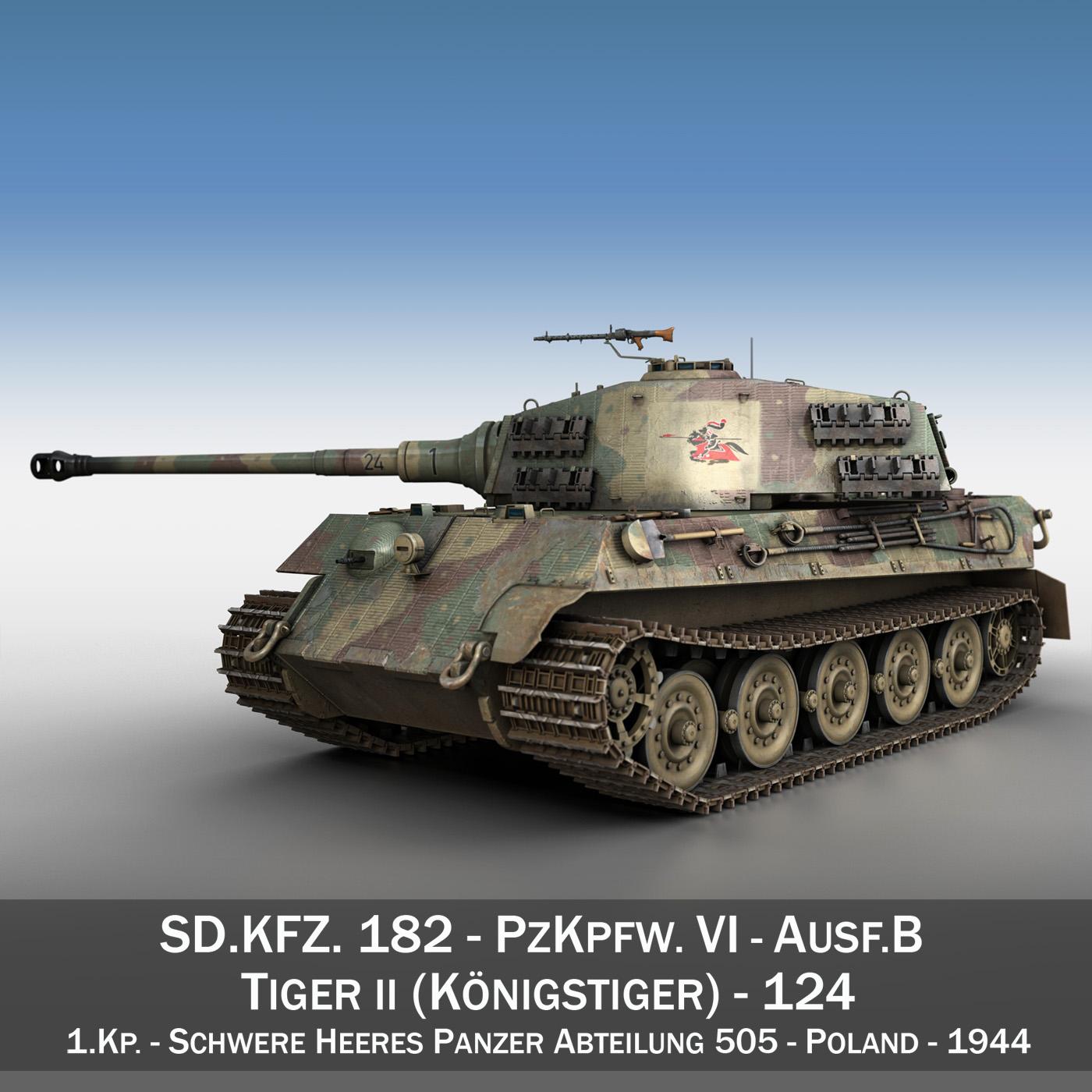 Panzerkampfwagen VI - Ausf B - Tiger II - 124 3d model 3ds c4d lwo lws lw obj 273754
