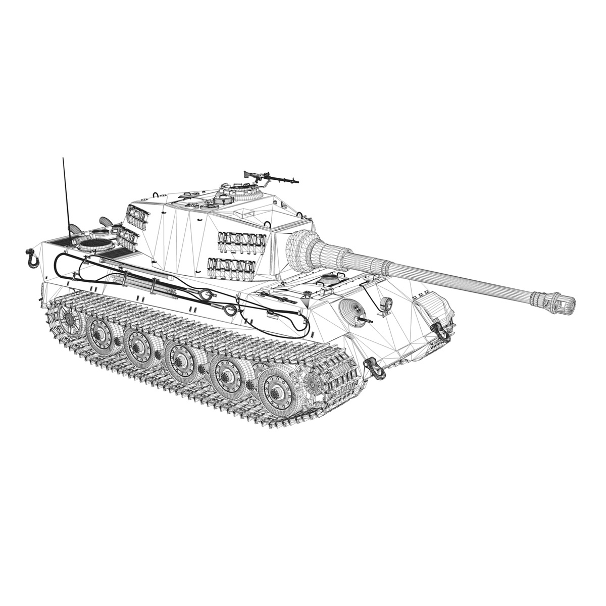 Panzerkampfwagen VI - Ausf B - Tiger II - 124 3d model 3ds c4d lwo lws lw obj 273765