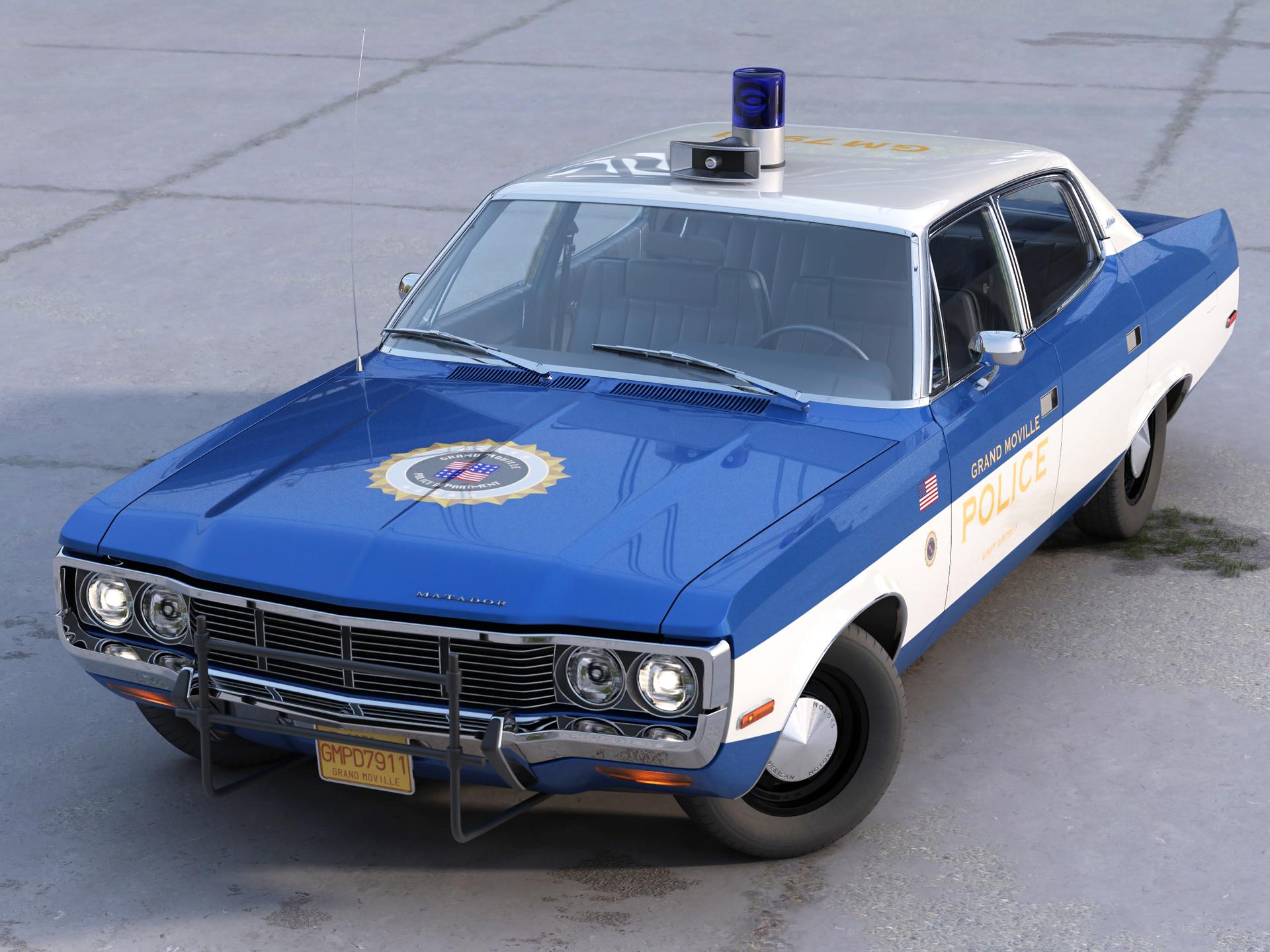 amc matador police 1972 3d model 3ds max fbx c4d obj 273768