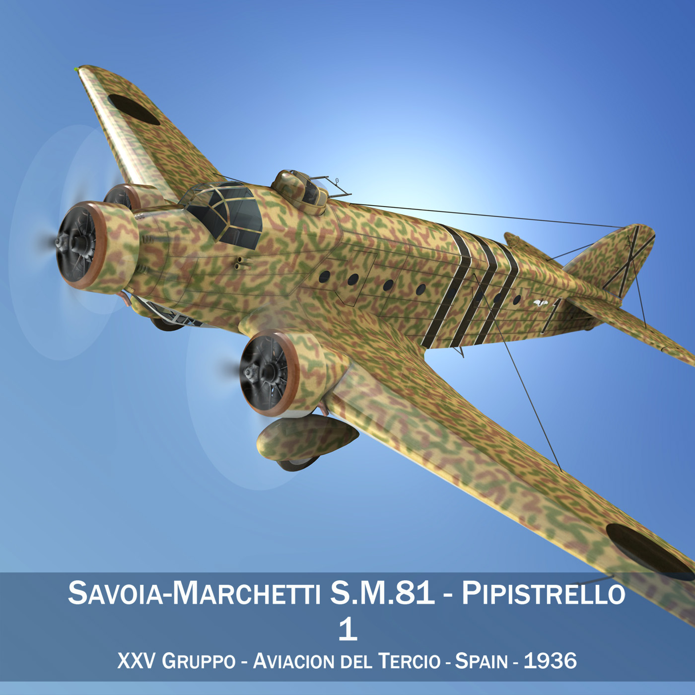 savoia-marchetti sm.81 – spanish civil war 3d model 3ds fbx c4d lwo obj 274144