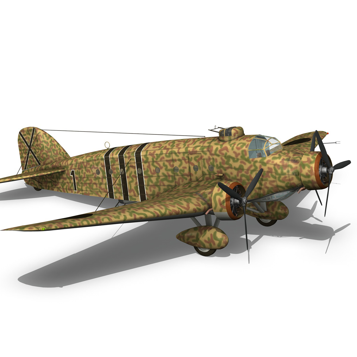 savoia-marchetti sm.81 – spanish civil war 3d model 3ds fbx c4d lwo obj 274155