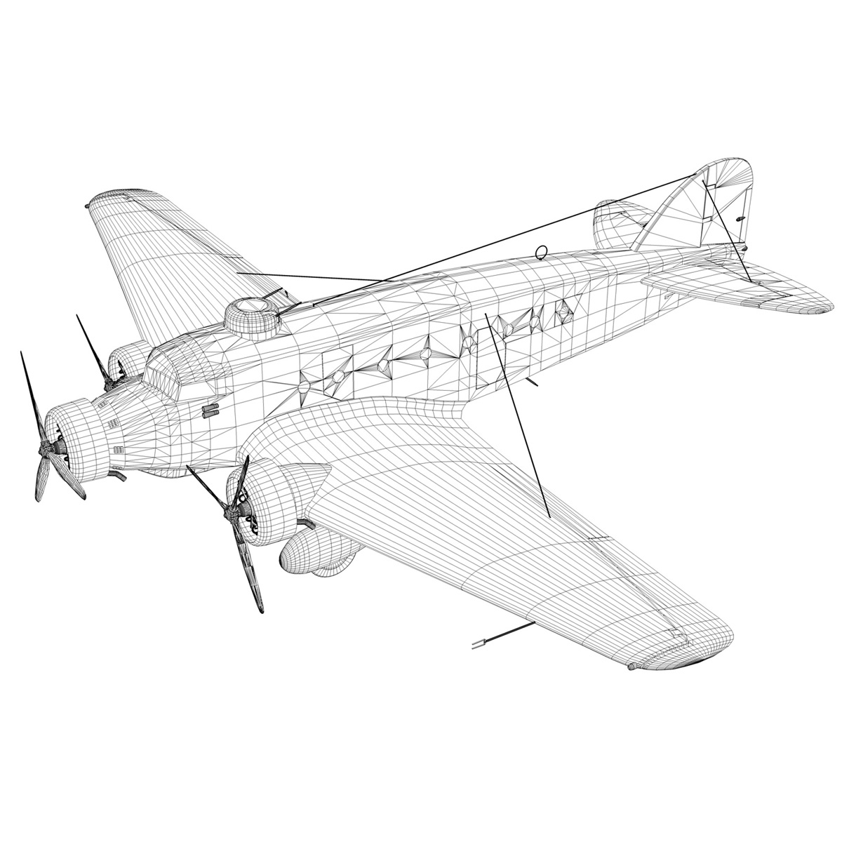 savoia-marchetti sm.81 – spanish civil war 3d model 3ds fbx c4d lwo obj 274157