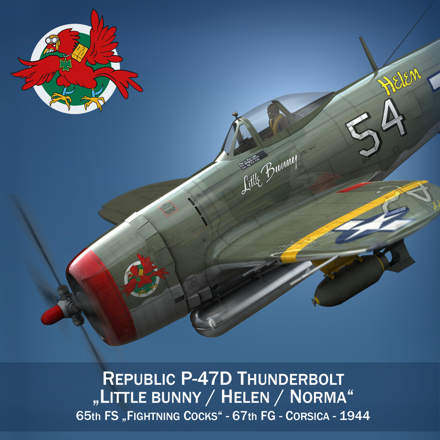 republic p-47d thunderbolt – little bunny 3d model fbx c4d lwo obj 274220
