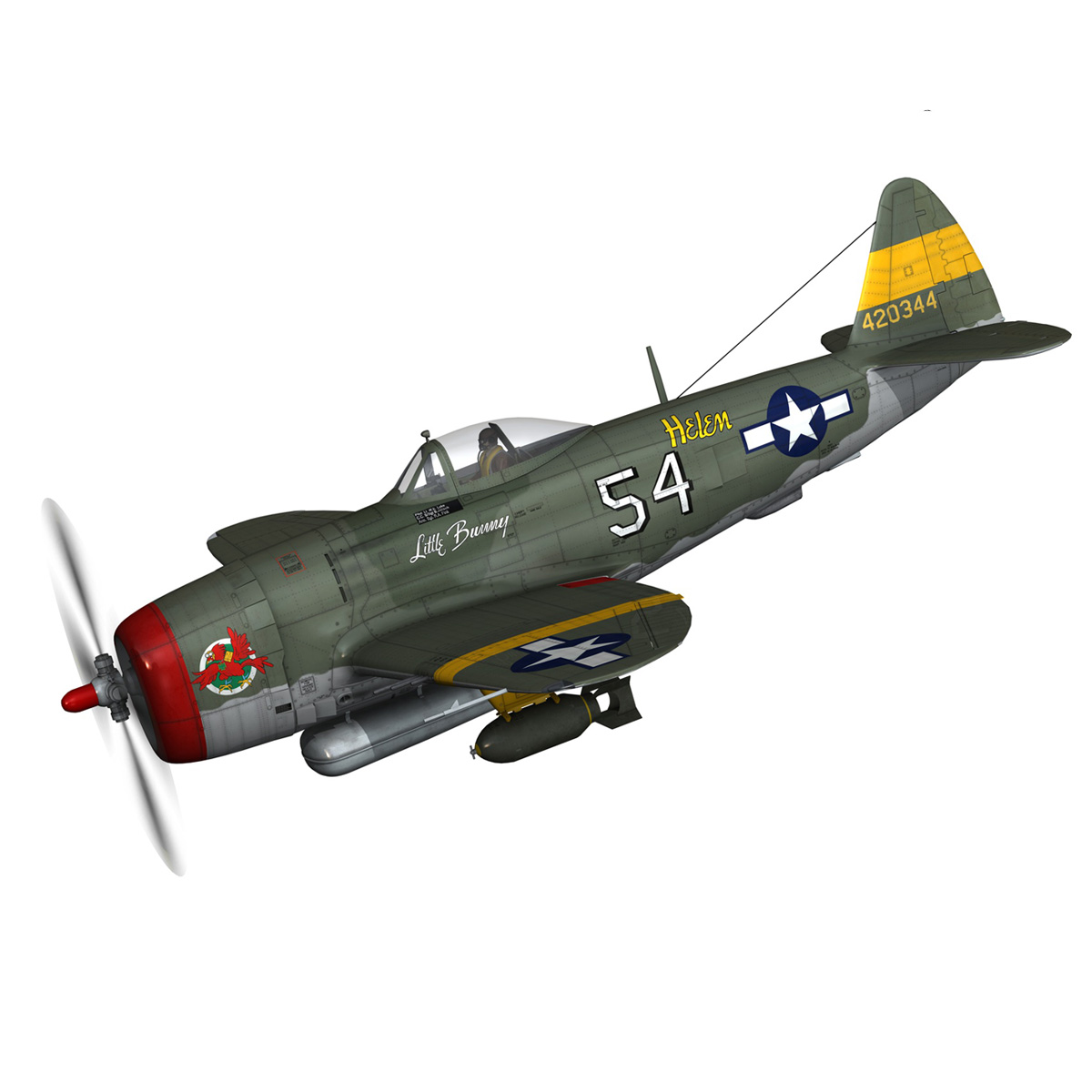 republic p-47d thunderbolt – little bunny 3d model fbx c4d lwo obj 274221