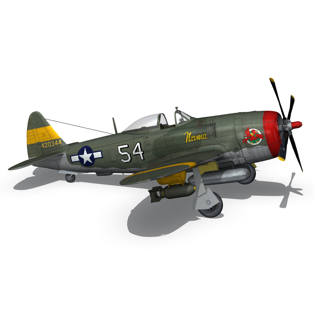 republic p-47d thunderbolt – little bunny 3d model fbx c4d lwo obj 274232