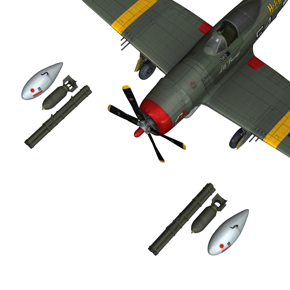 republic p-47d thunderbolt – little bunny 3d model fbx c4d lwo obj 274237