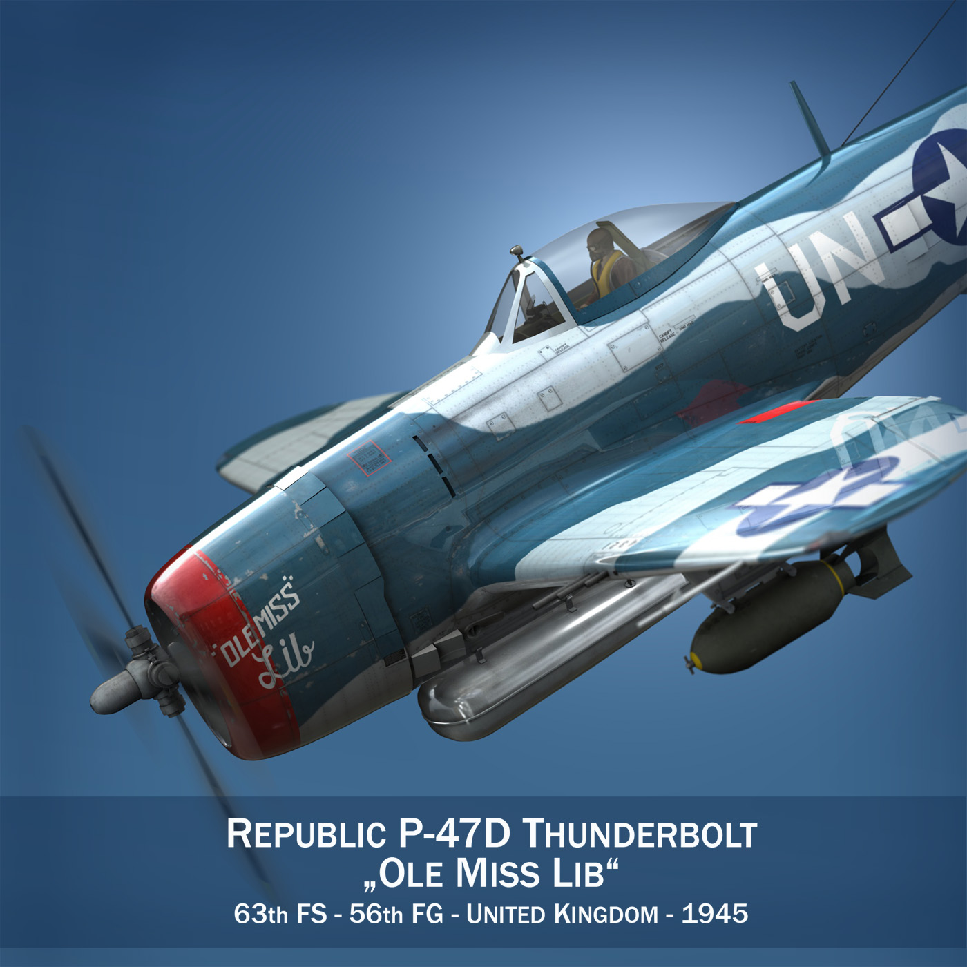 Republic P-47 Thunderbolt - Ole Miss Lib 3d model fbx c4d lwo lws lw obj 274273