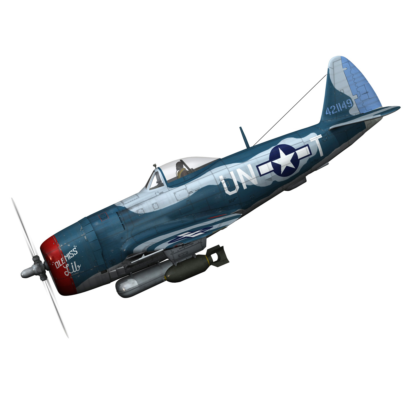republic p-47 thunderbolt – ole miss lib 3d model fbx c4d lwo obj 274274