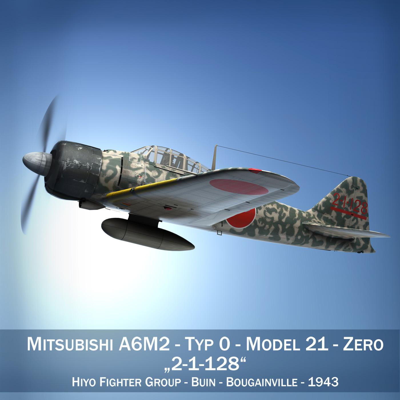 mitsubishi a6m2 nulle - hiyo cīnītājs grupa 3d modelis fbx c4d lwo obj 274299