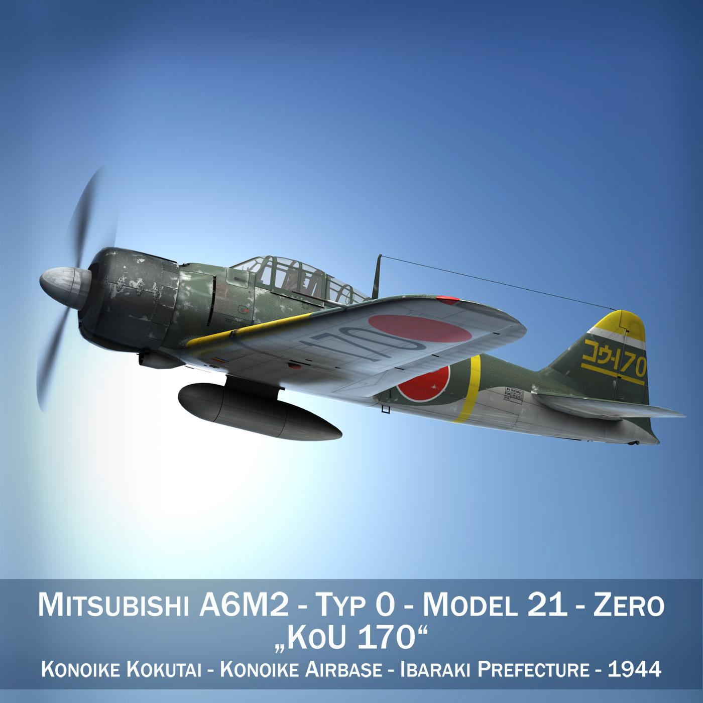mitsubishi a6m2 nulle - konoike kokutai 3d modelis fbx c4d lwo obj 274324
