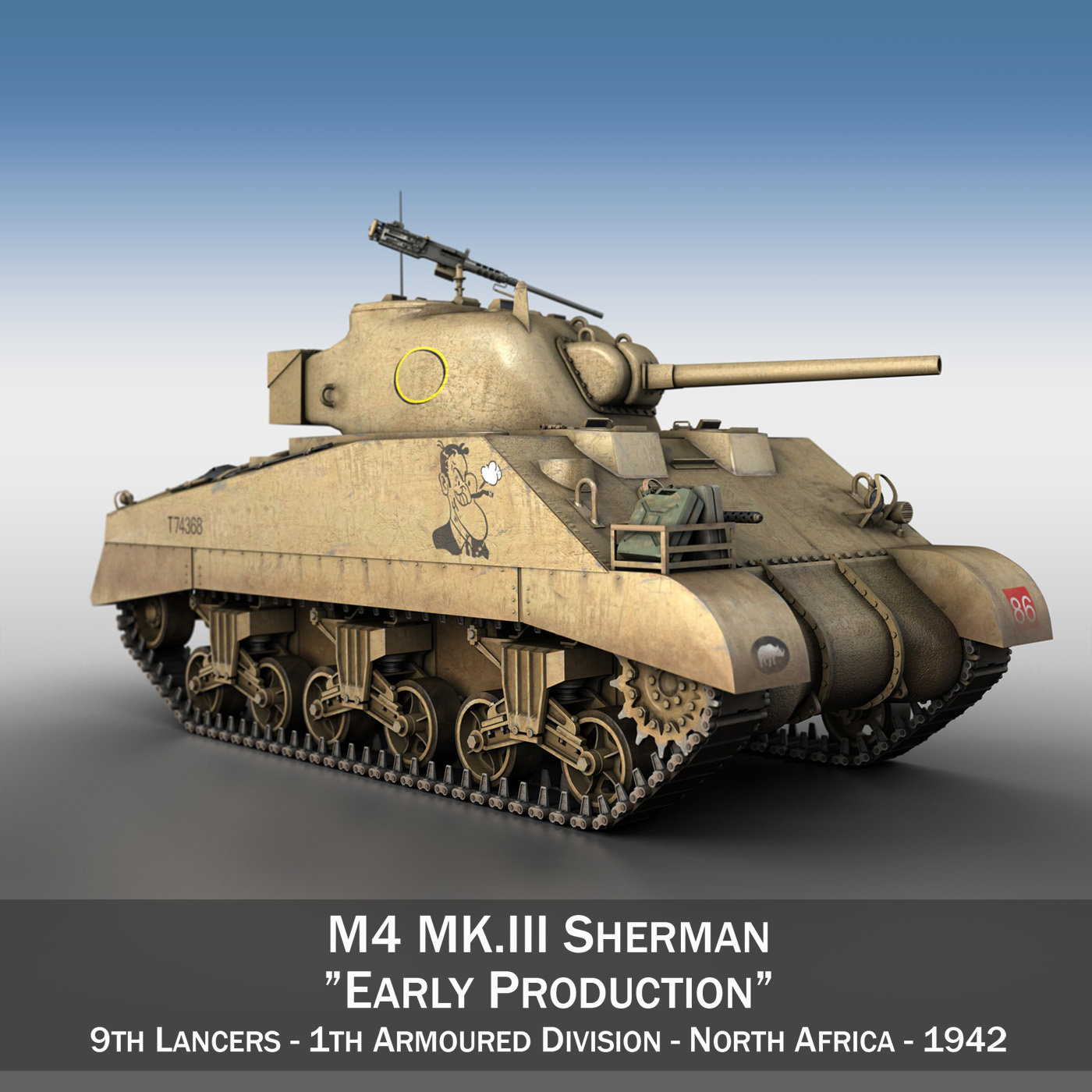 m4 sherman mk iii – early production 3d model 3ds fbx c4d lwo obj 274459