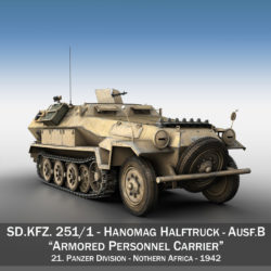 SD.KFZ 251/1 Ausf.B - DAK - 21PD 3d model high poly virtual reality 3ds fbx c4d lwo lws lw obj