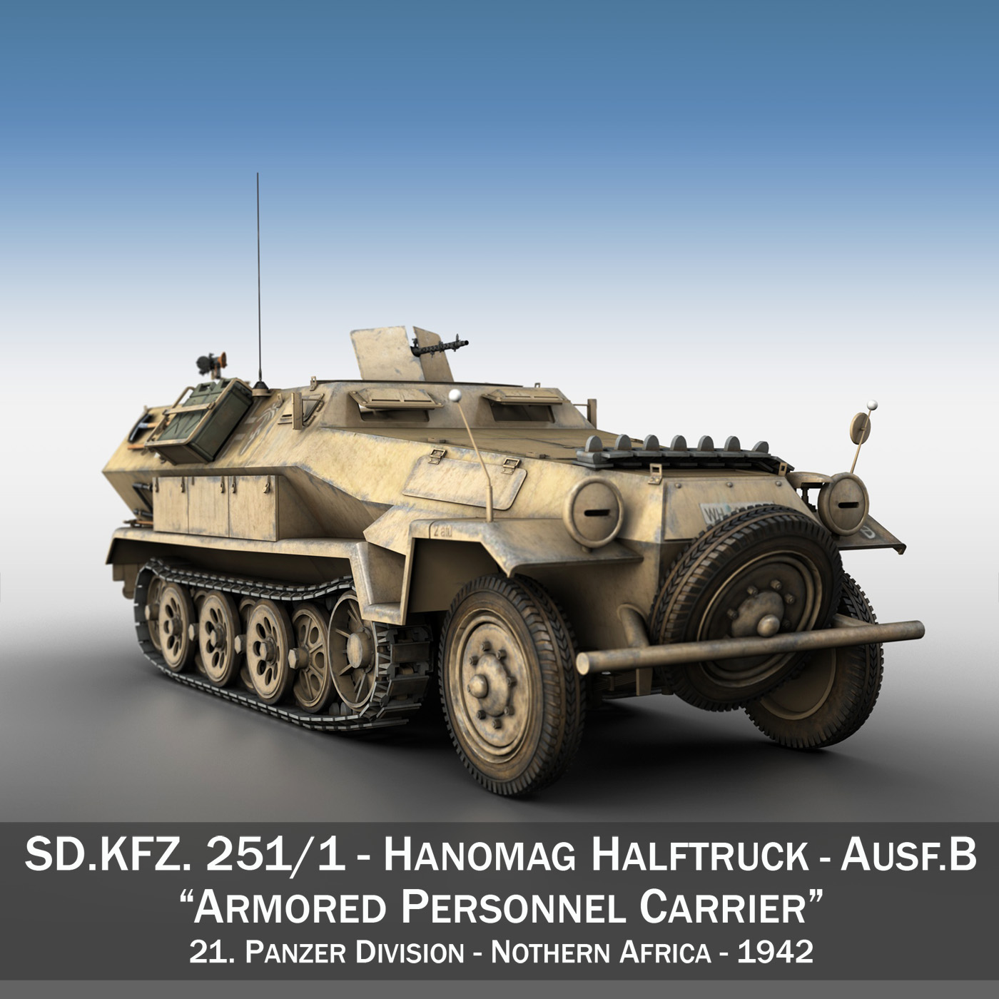 sd.kfz 251 / 1 ausf.b - dak - Model 21pd 3d 3ds fbx c4d lwo obj 275055