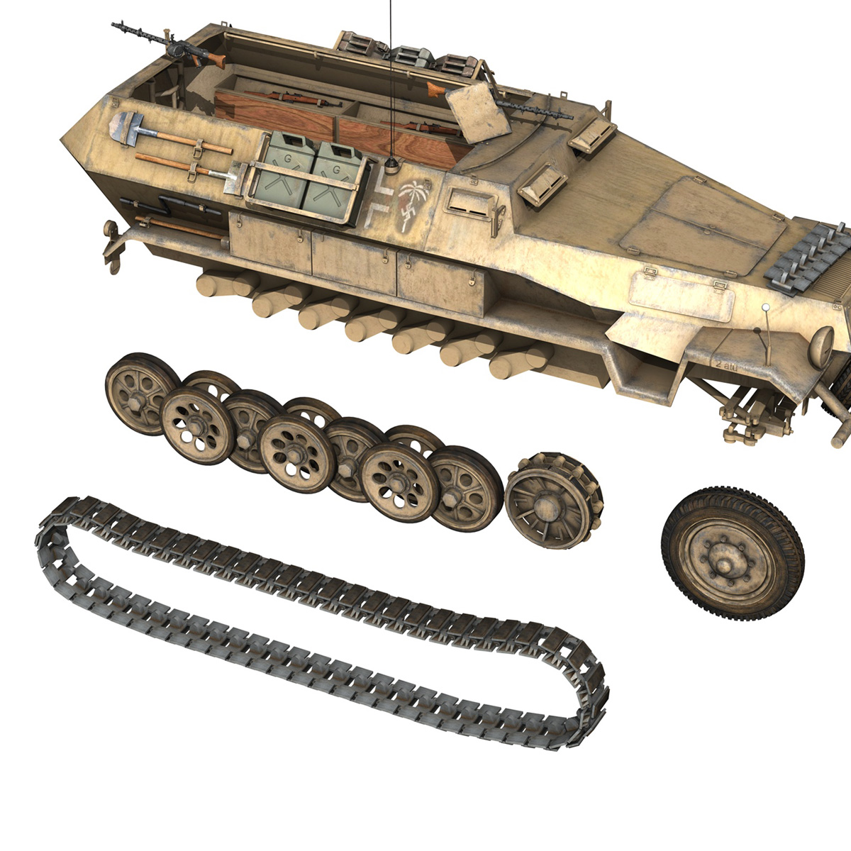 sd.kfz 251/1 ausf.b – dak – 21pd 3d model 3ds fbx c4d lwo obj 275066