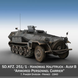 SD.KFZ 251/1 Ausf.B - Halftruck - 7PD 3d model high poly virtual reality 3ds fbx c4d lwo lws lw obj