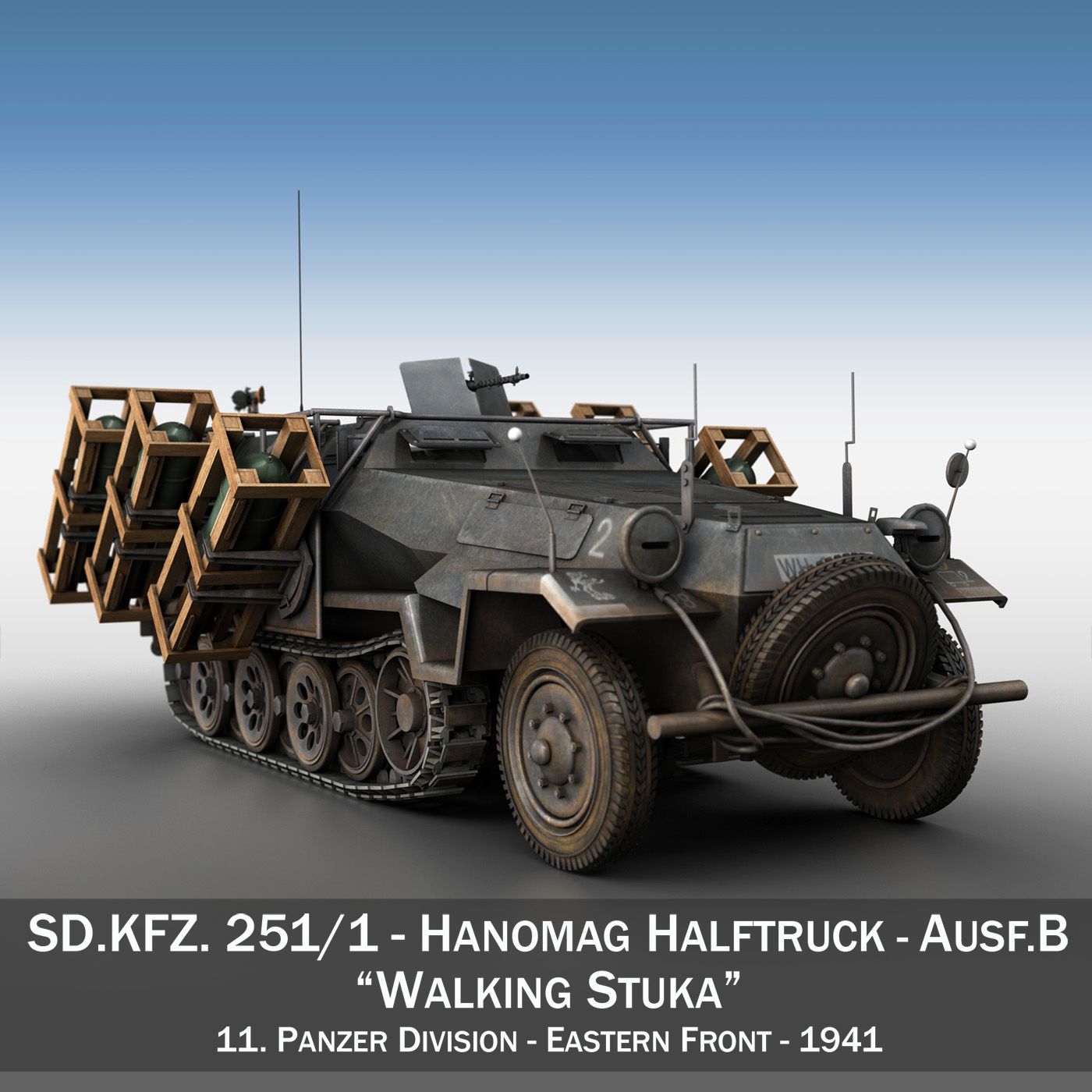 sd.kfz 251/1 ausf.b – walking stuka – 11pd 3d model 3ds fbx c4d lwo obj 275211