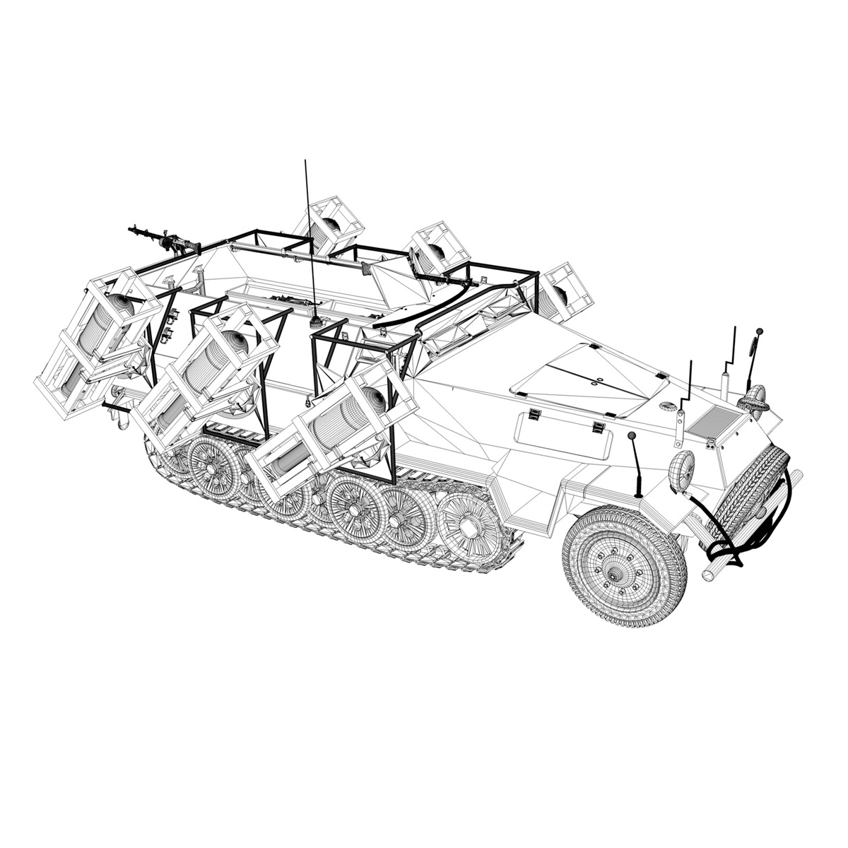 sd.kfz 251/1 ausf.b – walking stuka – 11pd 3d model 3ds fbx c4d lwo obj 275224