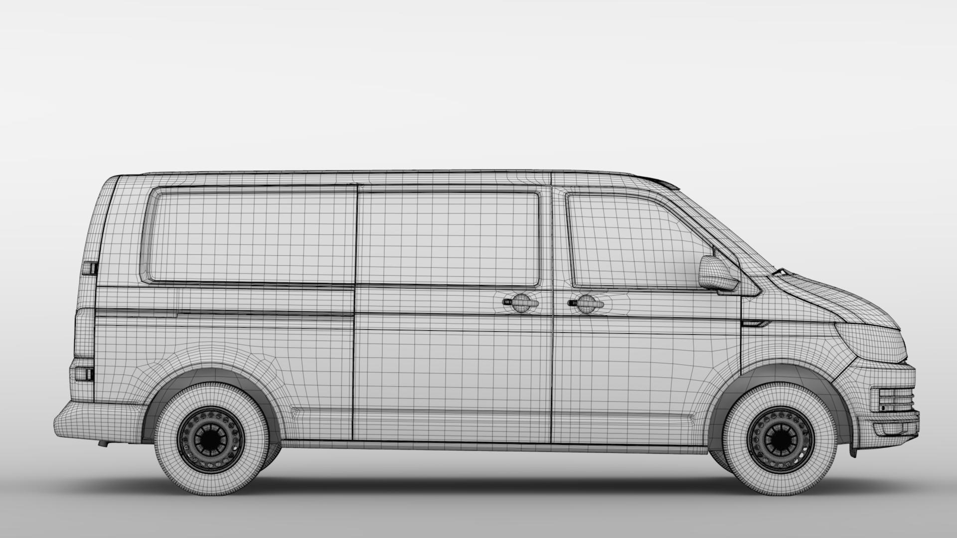 volkswagen nəqliyyat vasitəsi van l2h1 t6 2017 3d model max fbx c4d lwo ma mb hrc xsi obj 275247