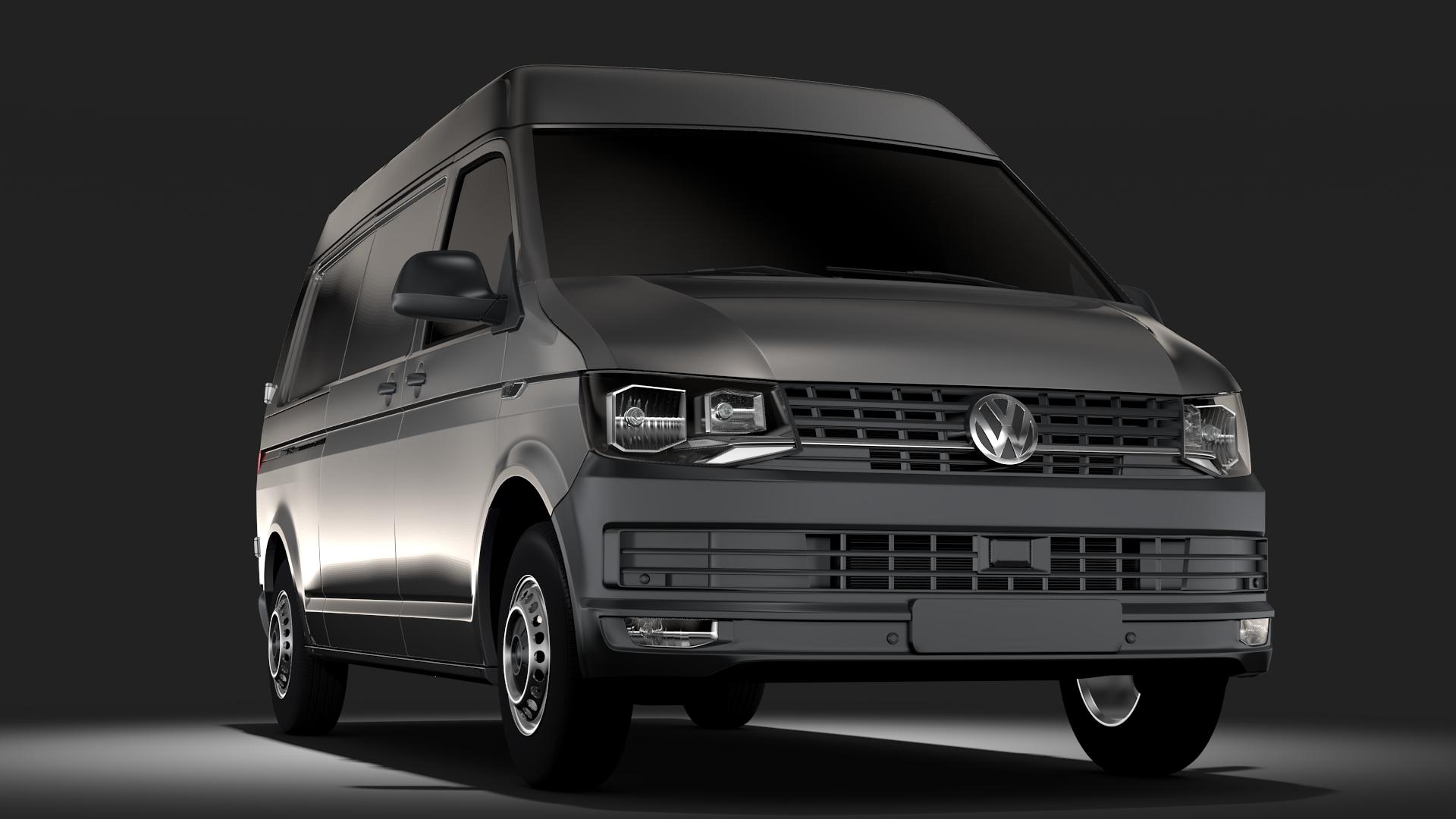 volkswagen transporter l2h2 t6 2017 3d model max fbx c4d