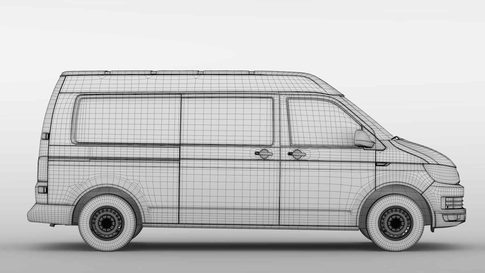 volkswagen nəqliyyat vasitəsi van l2h2 t6 2017 3d model max fbx c4d lwo ma mb hrc xsi obj 275274