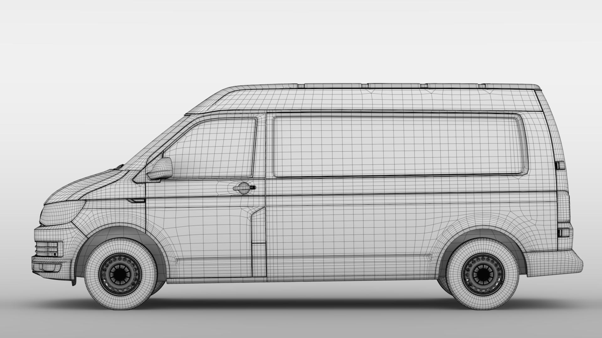volkswagen nəqliyyat vasitəsi van l2h2 t6 2017 3d model max fbx c4d lwo ma mb hrc xsi obj 275276