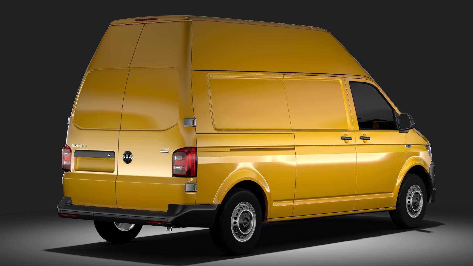 volkswagen transporter van l2h3 t6 2017 3d model max fbx c4d lwo ma mb hrc xsi obj 275294