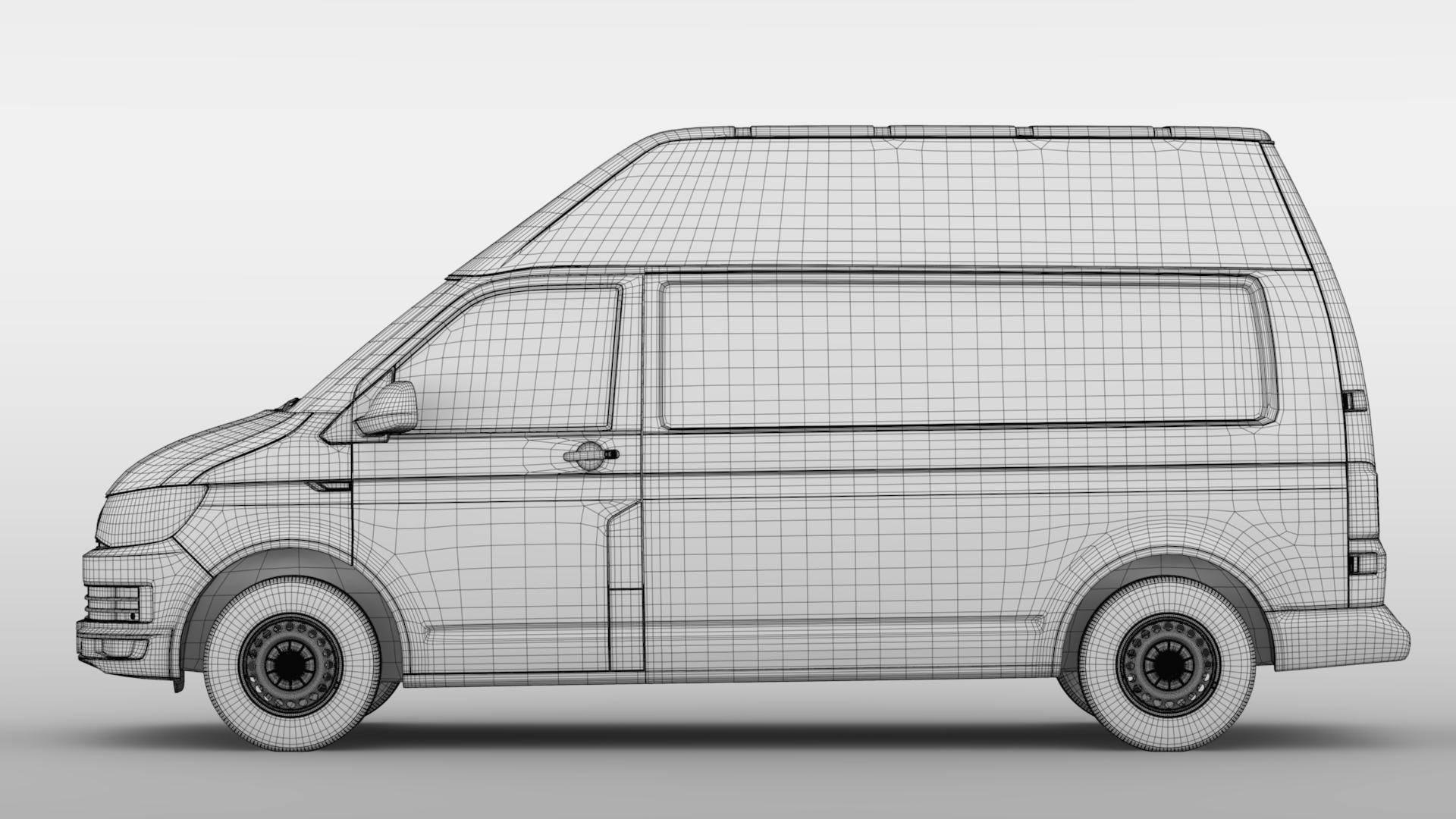 volkswagen transporter van l2h3 t6 2017 3d model max fbx c4d lwo ma mb hrc xsi obj 275308