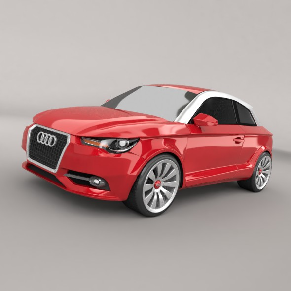 audi a1 2011 city car restyled 3d model 3ds fbx blend dae lwo obj 275383