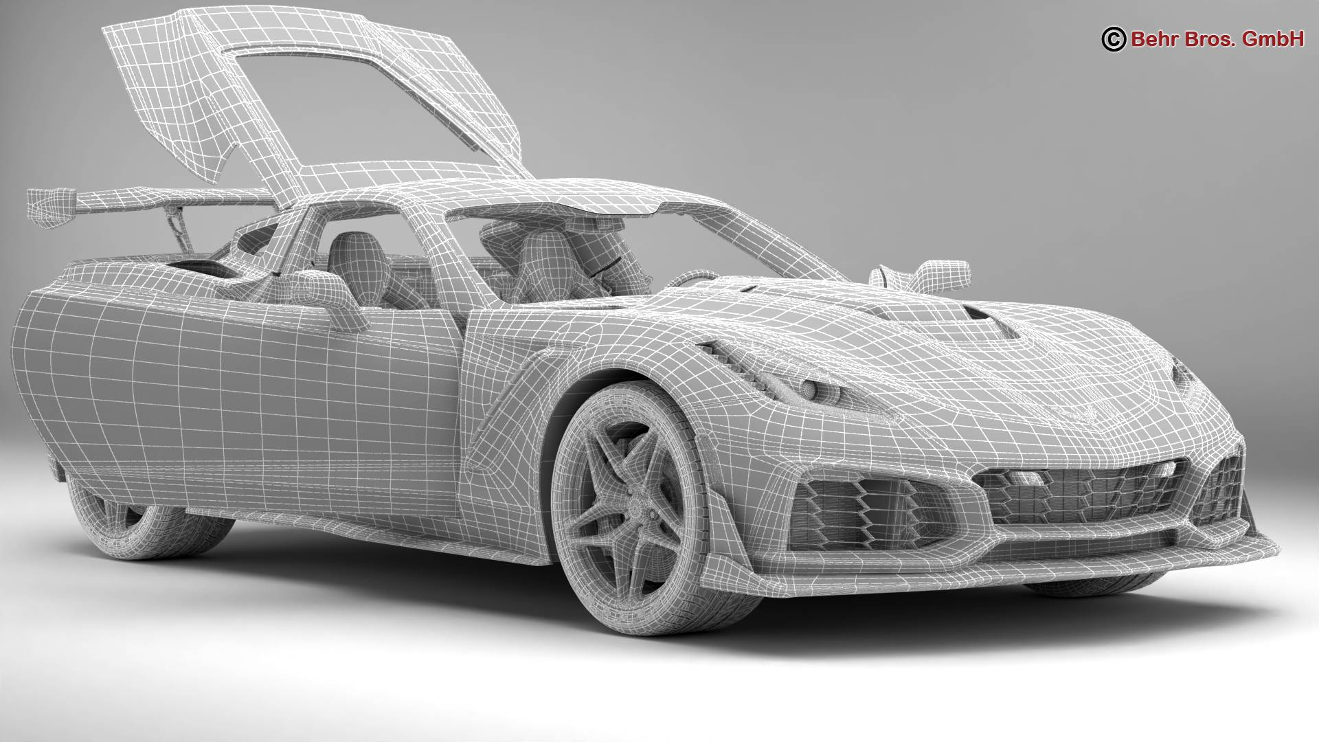 chevrolet corvette zr1 2019 3d model 3ds max fbx c4d lwo ma mb obj 275983