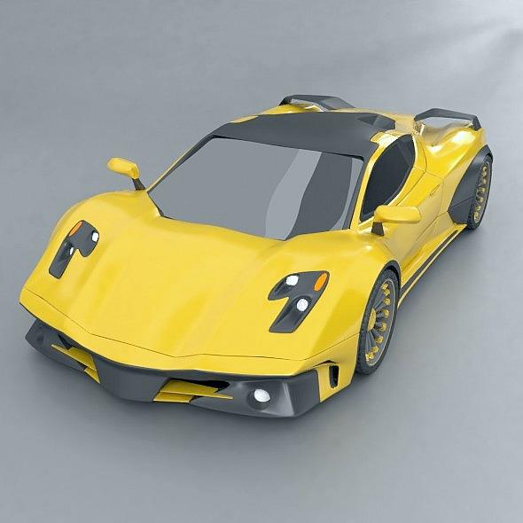 Waspero supercar concept 3d model 3ds fbx blend dae obj