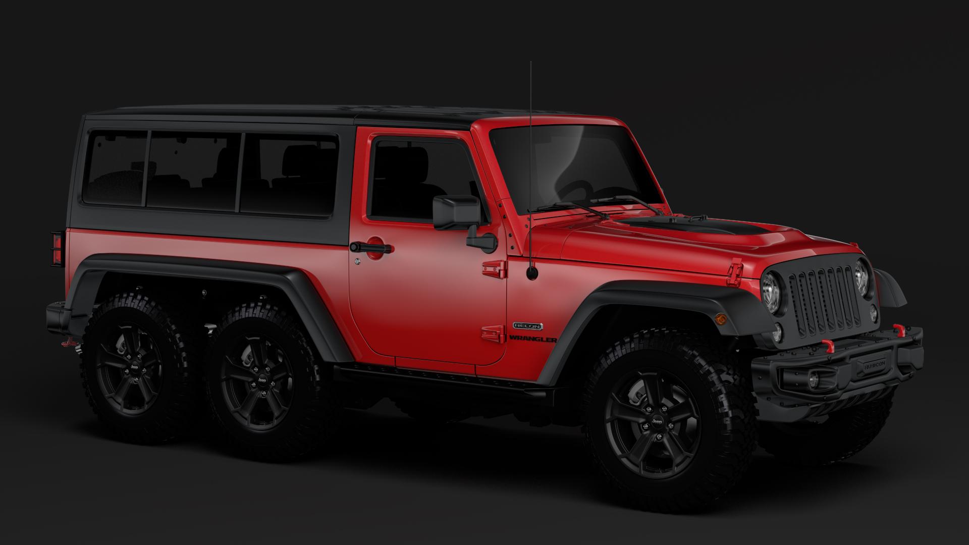 jeep wrangler 6x6 rubicon recon jk 2017 3d model buy jeep wrangler 6x6 rubicon recon jk 2017. Black Bedroom Furniture Sets. Home Design Ideas