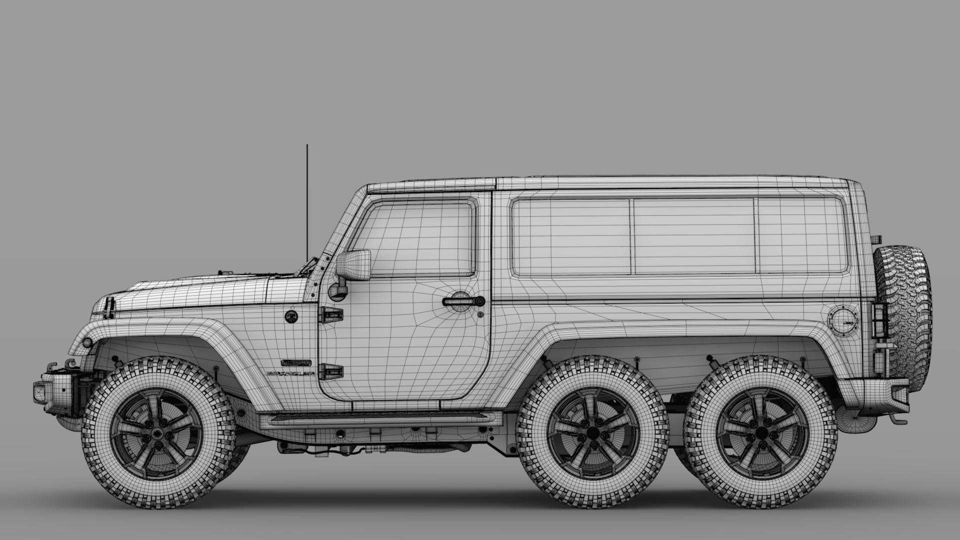jeep wrangler 6×6 rubicon recon jk 2017 3d model max fbx c4d lwo ma mb hrc xsi obj 276855