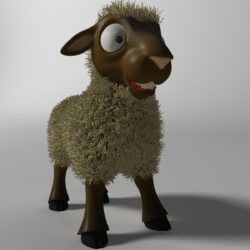 Cartoon Sheep Rigged 3d model 3ds max fbx  obj