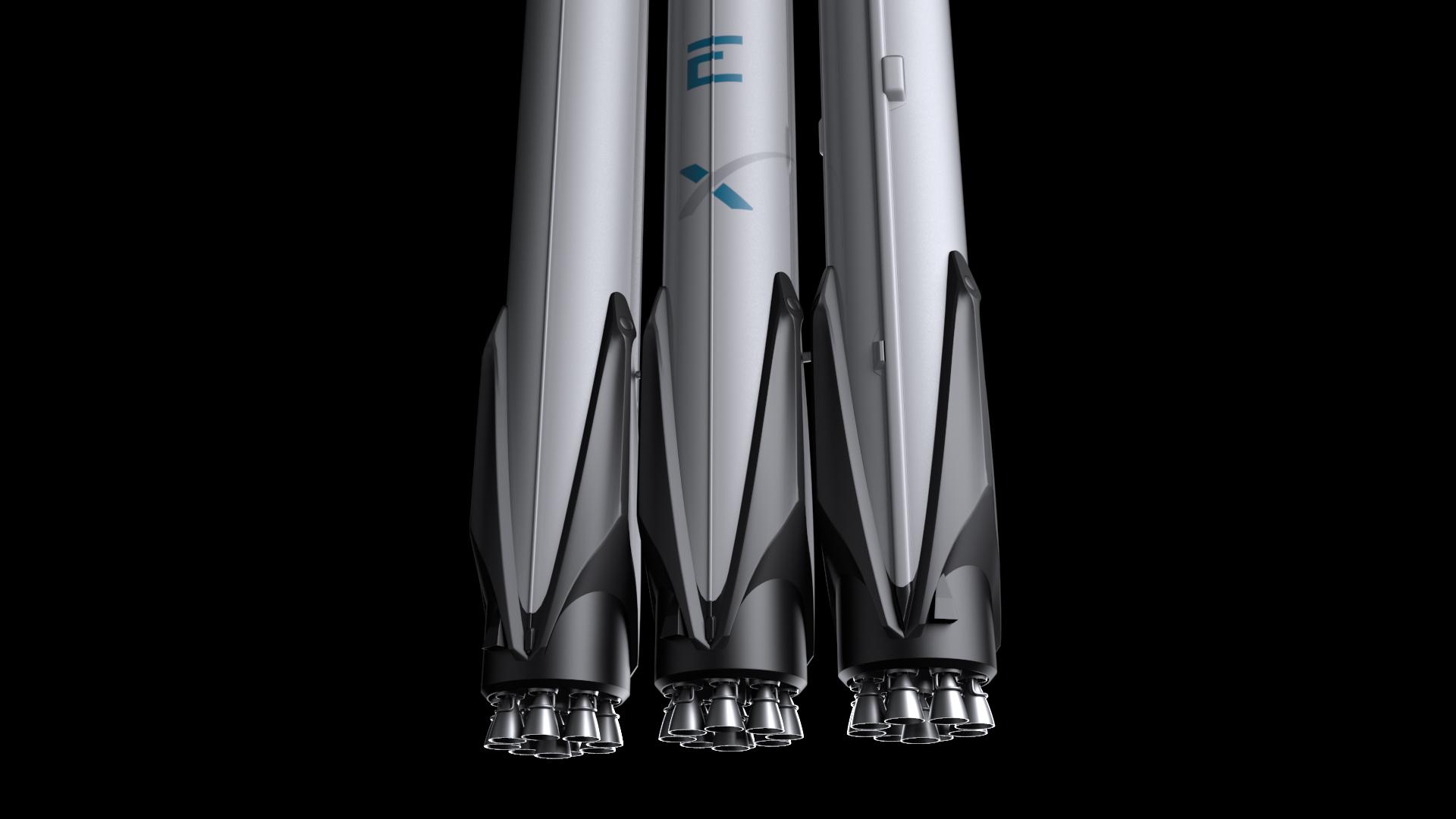 falcon heavy v1.2 3d model max fbx c4d lwo ma mb hrc xsi obj 277816