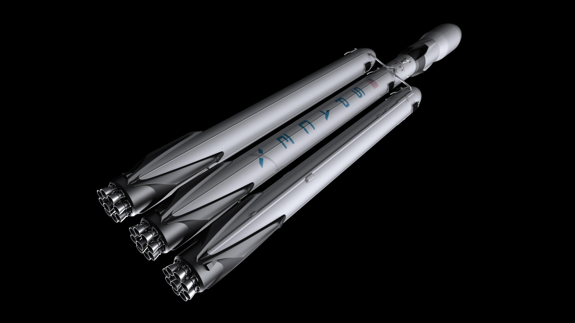 Falcon Heavy V1.2 Fully Reusable 3d model max fbx c4d lwo ma mb hrc xsi obj 277857