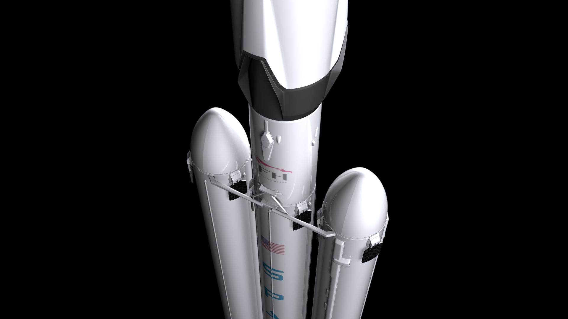 falcon heavy v1.2 fully reusable 3d model max fbx c4d lwo ma mb hrc xsi obj 277858