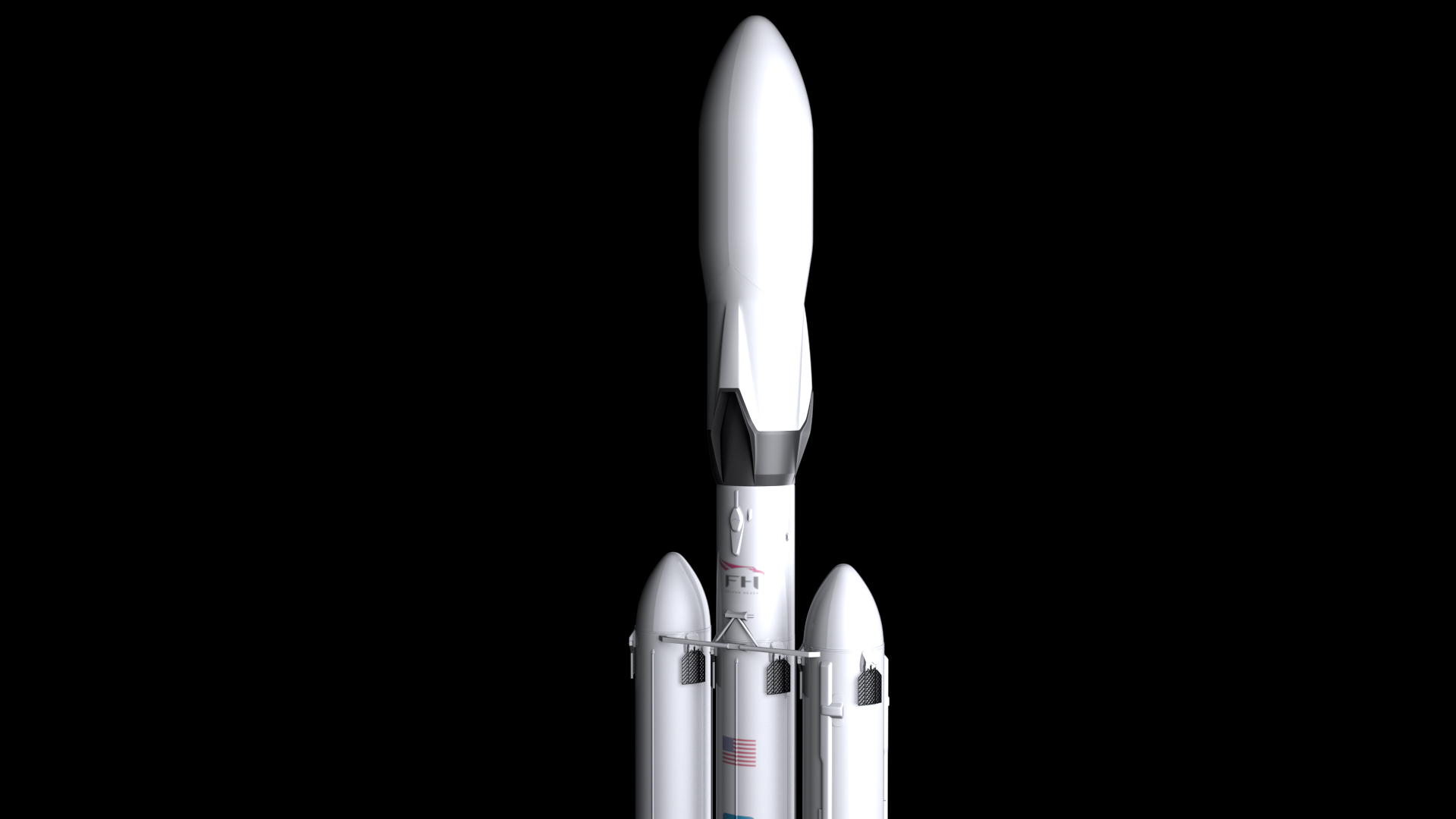 falcon heavy v1.2 fully reusable 3d model max fbx c4d lwo ma mb hrc xsi obj 277859