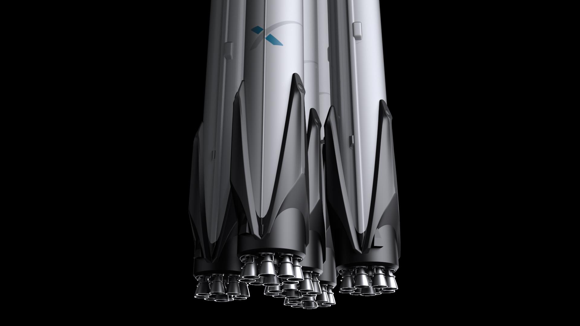 falcon super heavy v1.2 3d model max fbx c4d lwo ma mb hrc xsi obj 277919