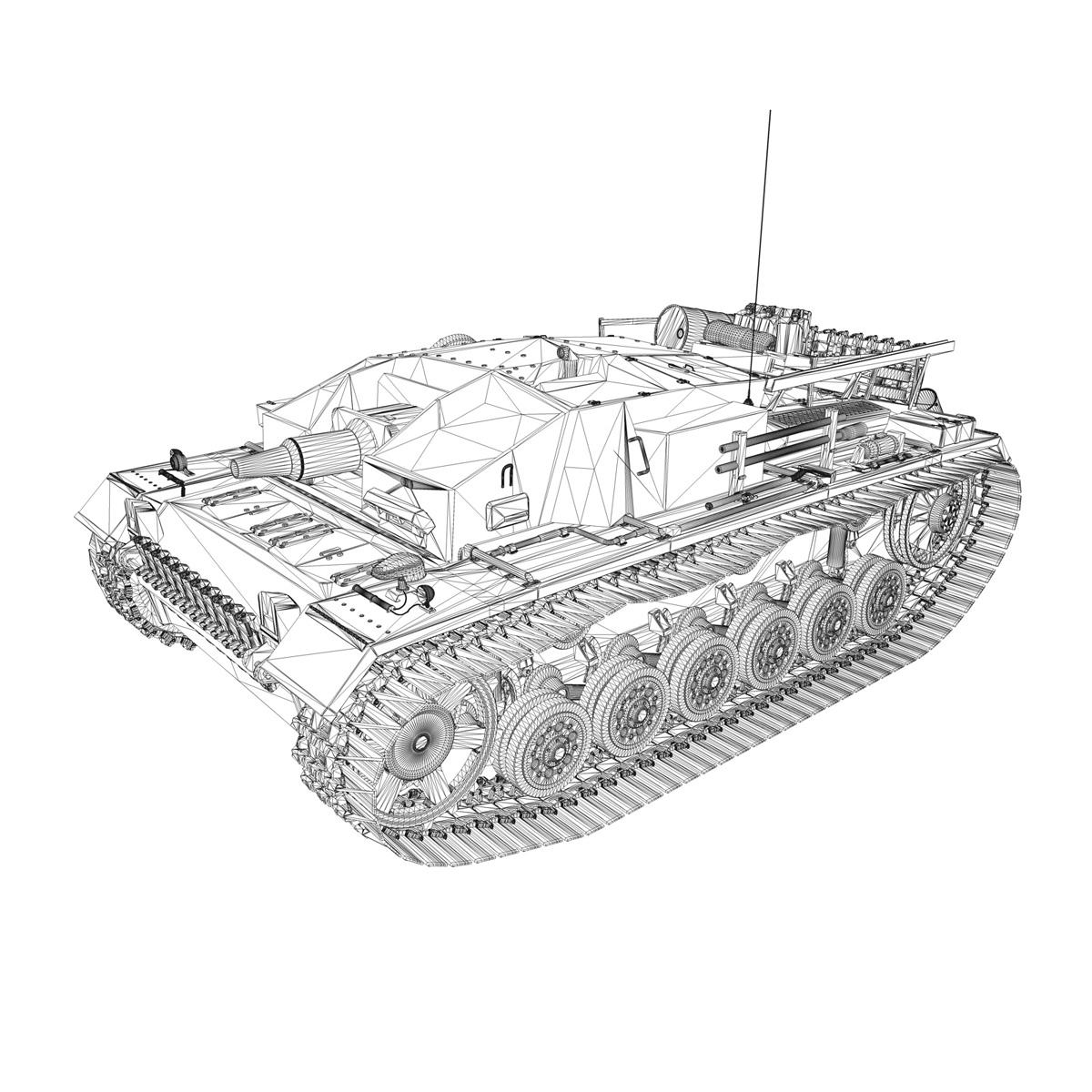 stug iii – ausf.d – stug.abt. 197 3d model 3ds fbx c4d lwo obj 278096