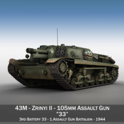 43M Zrinyi II - Assault Gun - 3rd Battery 33 3d model high poly virtual reality 3ds fbx c4d lwo lws lw obj
