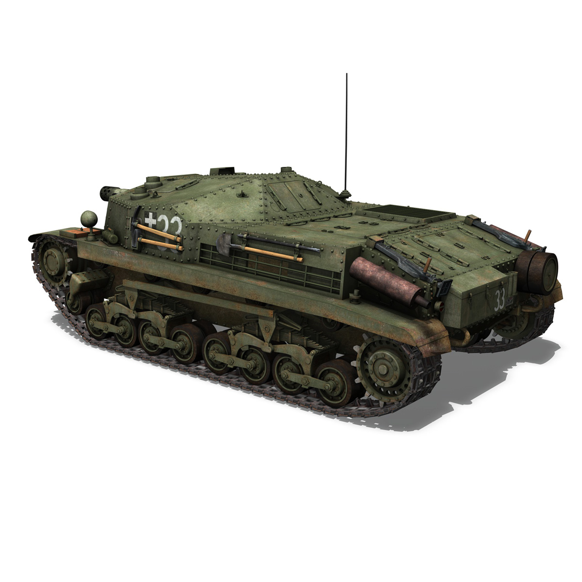 43m zrinyi ii – assault gun – 3rd battery 33 3d model 3ds fbx c4d lwo obj 278125