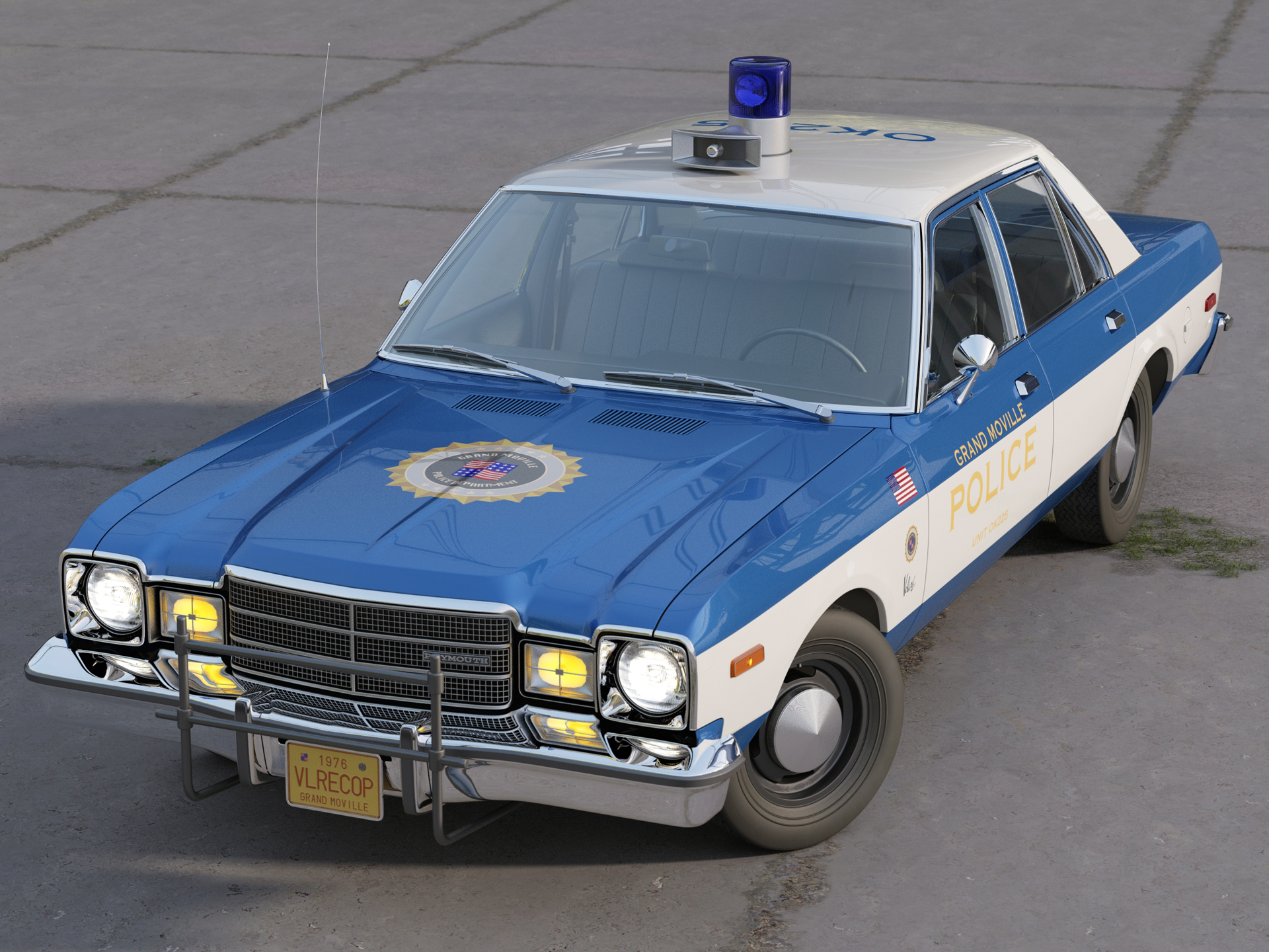 plymouth volare police 1976 3d model 3ds max fbx c4d obj 278343