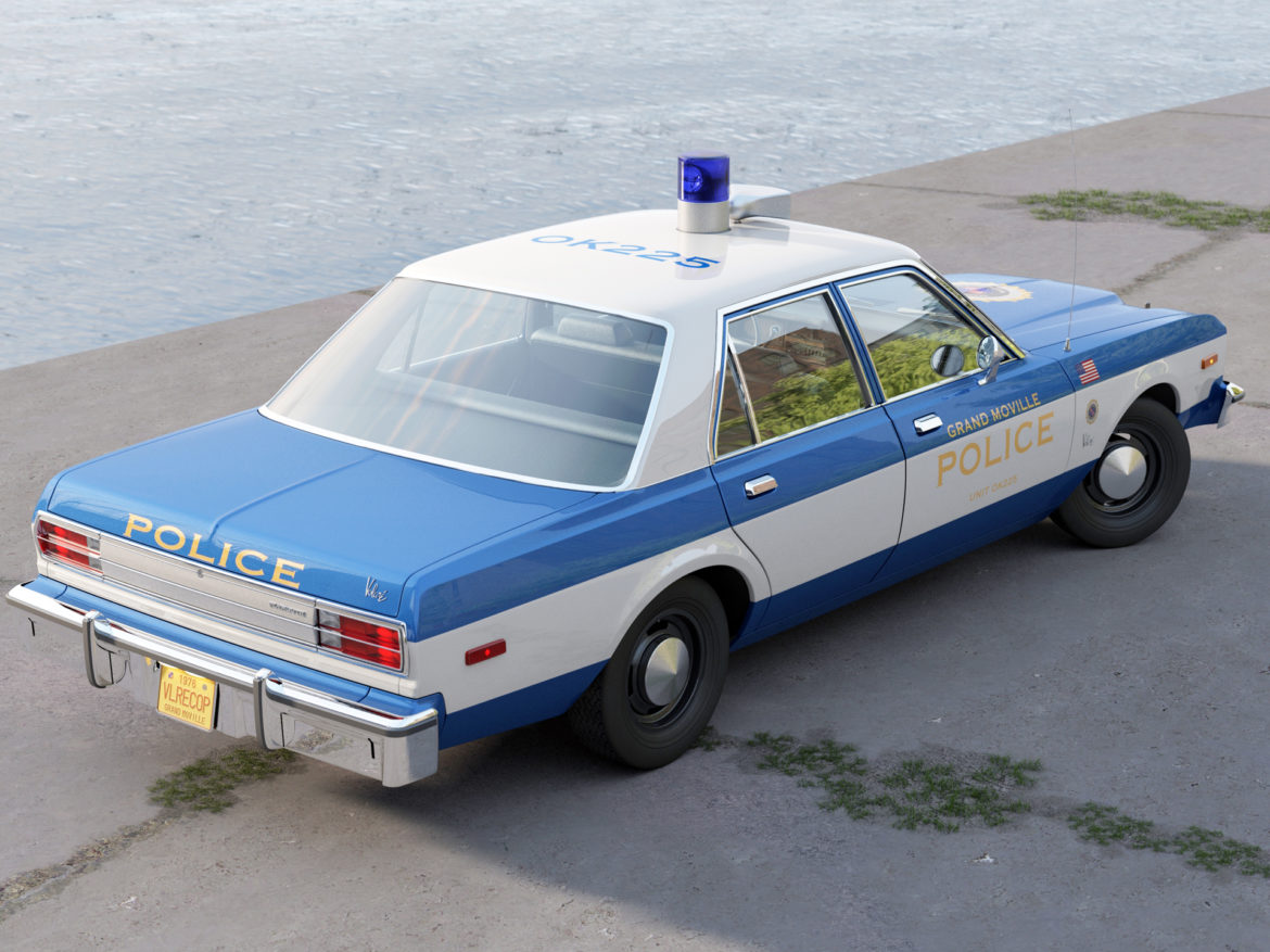 plymouth volare police 1976 3d model 3ds max fbx c4d obj 278344