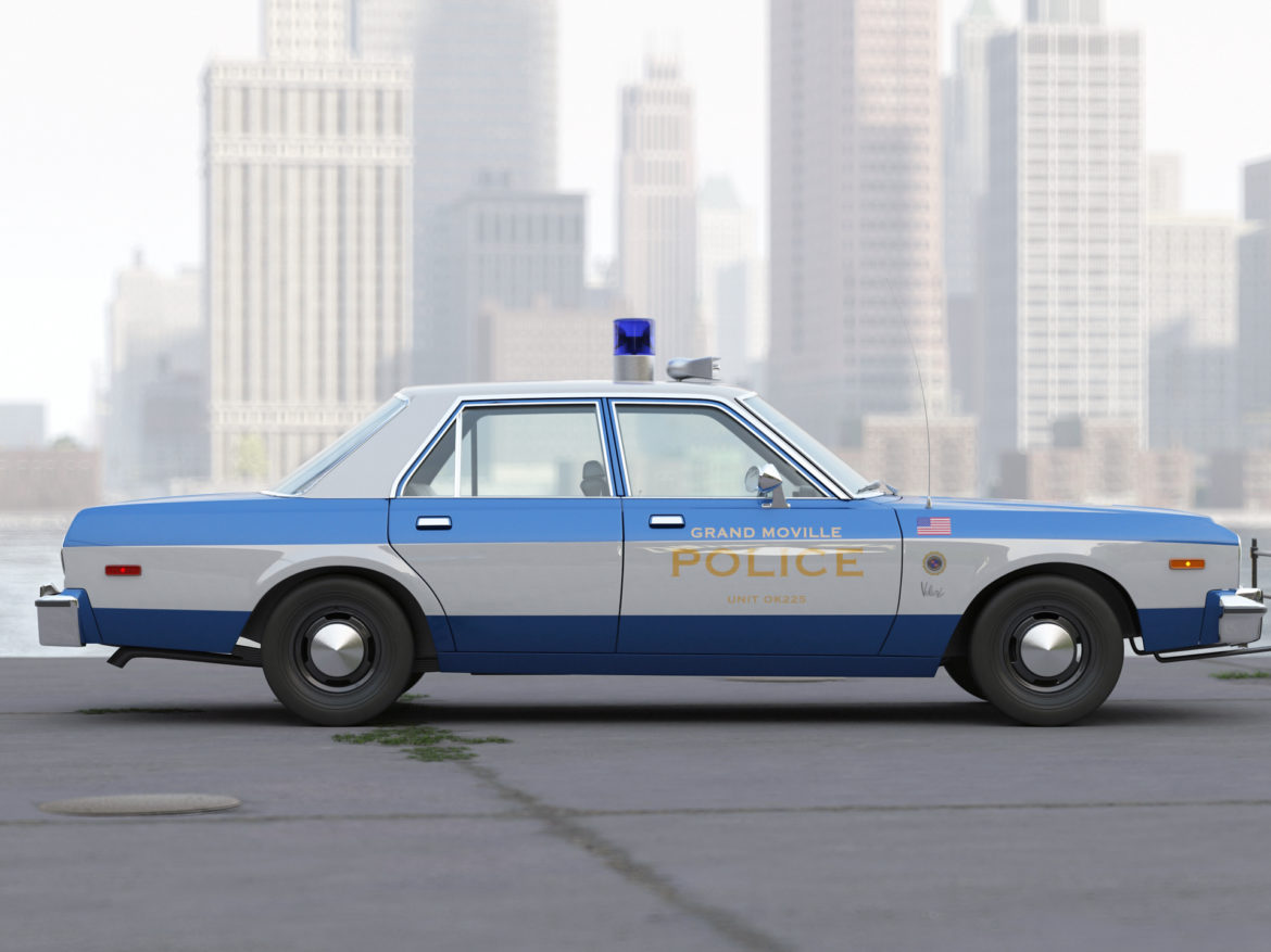 plymouth volare police 1976 3d model 3ds max fbx c4d obj 278346
