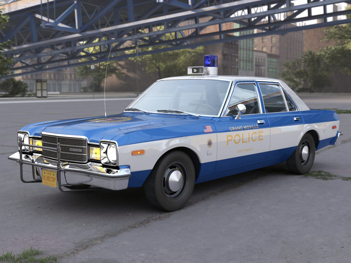 plymouth volare police 1976 3d model 3ds max fbx c4d obj 278348