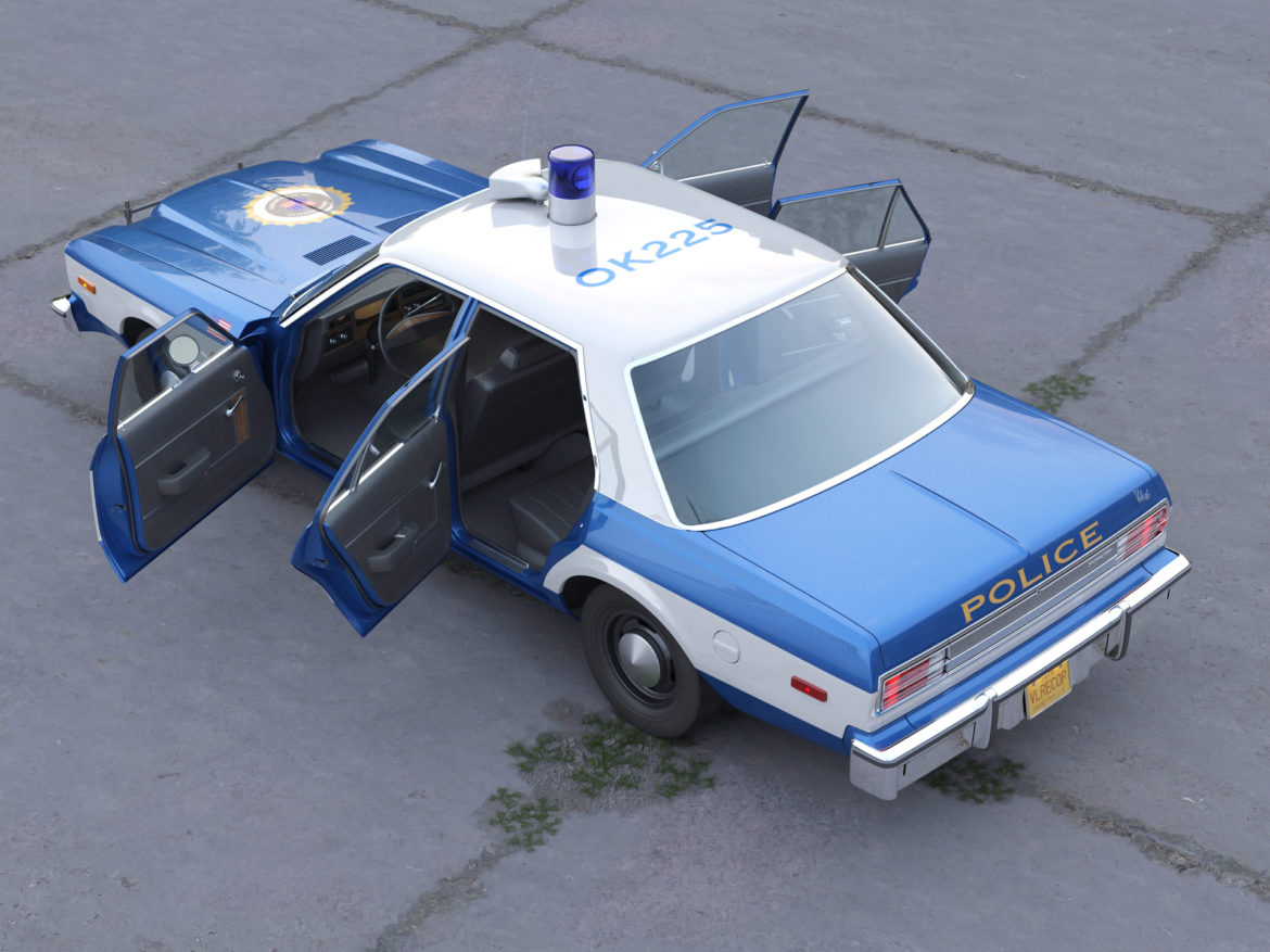 plymouth volare police 1976 3d model 3ds max fbx c4d obj 278349
