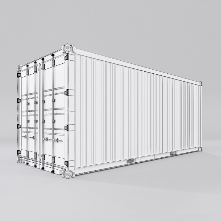 20 feet shipping container 3d model max fbx ma mb obj
