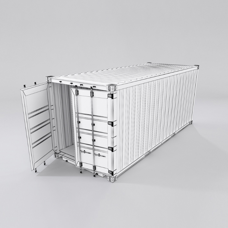 20 feet shipping container 3d model max fbx ma mb obj 278374